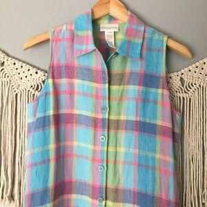 Vintage 90s Shirt Dress Rainbow Plaid Linen
